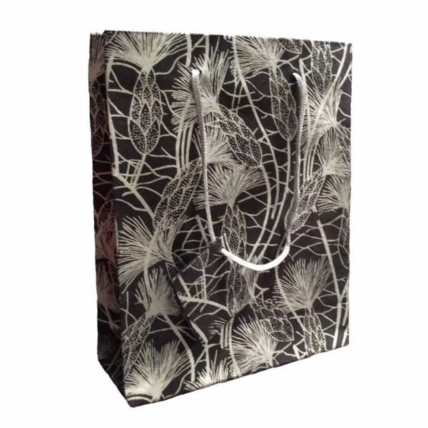 Set of Twelve Recycled Cotton Gift Bags with Tag in Black Beach Grass Design