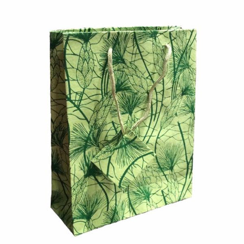 Set of Twelve Recycled Cotton Gift Bags with Tag in Green Beach Grass Design - Arcadia Home
