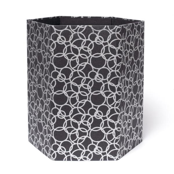 Recycled Cotton Storage/Waste Basket In Black Interlocking Circles - Arcadia Home