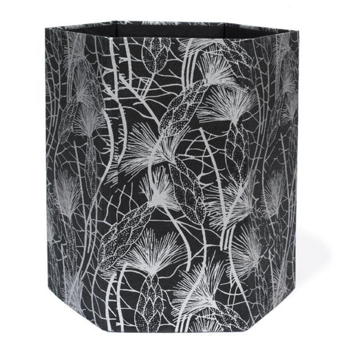 Recycled Cotton Storage/Wastebasket in Black Beach Grass Design - Arcadia Home