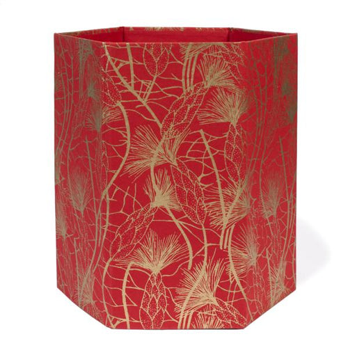 Recycled Cotton Storage/Wastebasket in Red/Gold Beach Grass Design - Arcadia Home