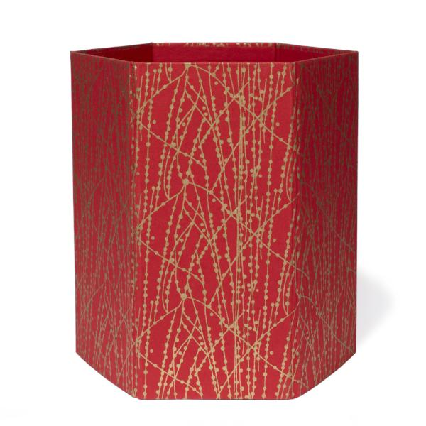 Recycled Cotton Storage/Waste Basket In Red and Gold Dot Line