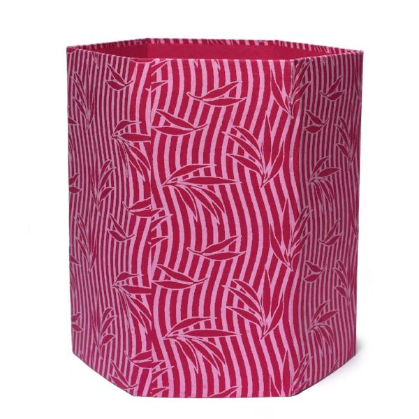 Recycled Cotton Storage/Waste Basket In Pink Undulating Stripes - Arcadia Home