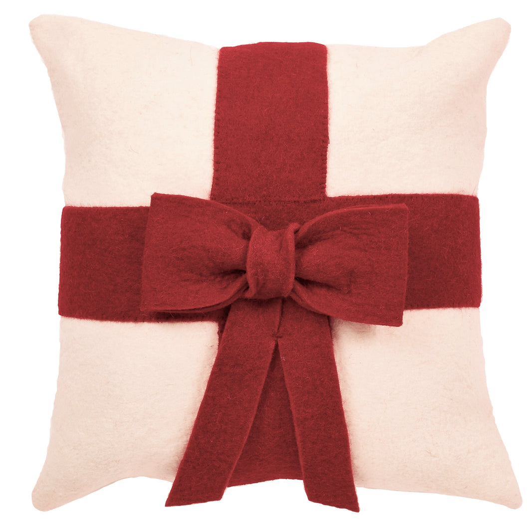 Red Bow on Cream - Christmas Pillow Cover in Hand Felted Wool - 20