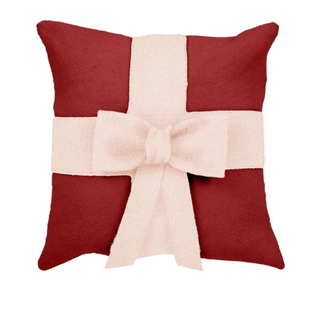 Cream Bow on Red- Christmas Pillow Cover in Hand Felted Wool - 20