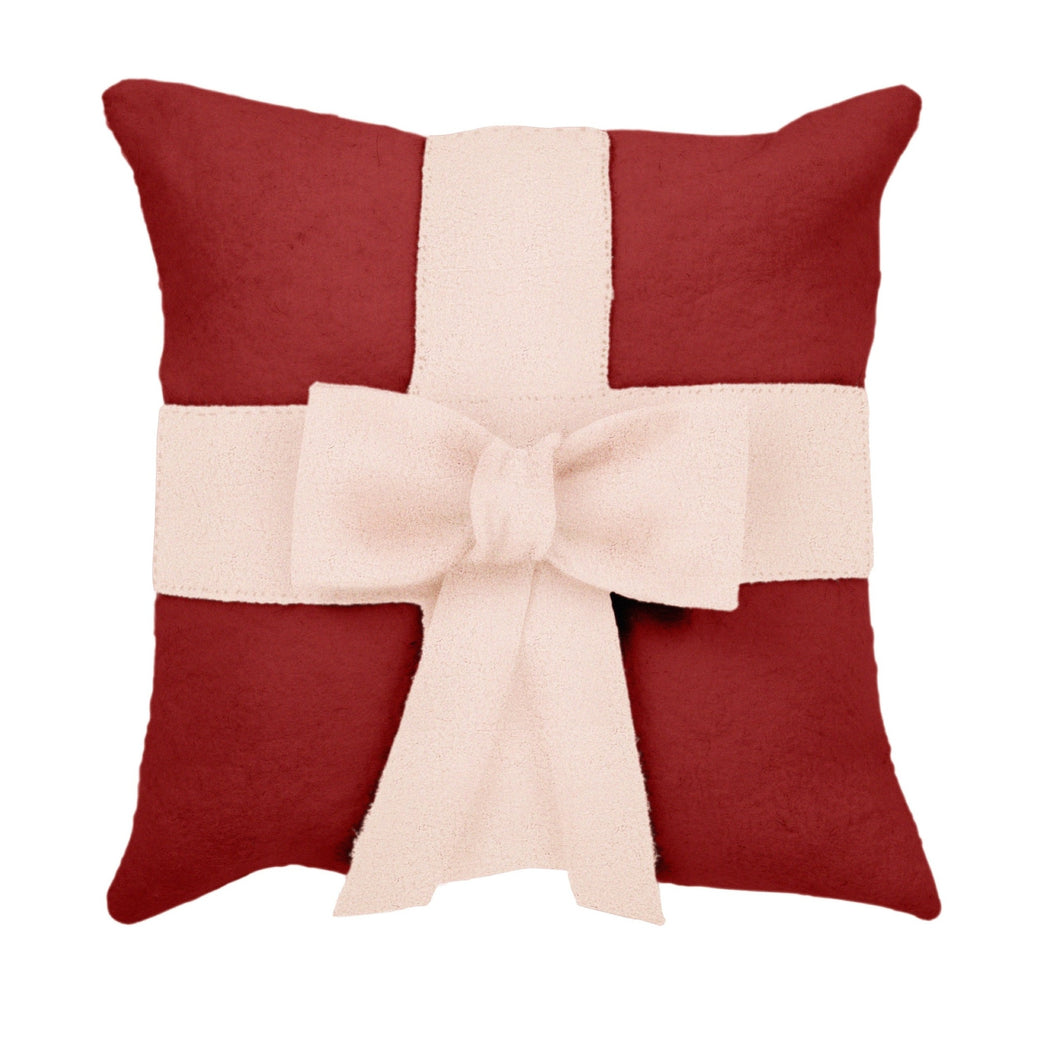 Cream Bow on Red - Christmas Pillow in Hand Felted Wool - 20
