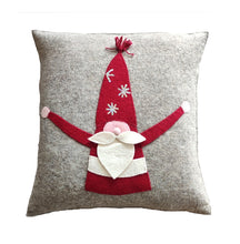 Hand Felted Wool Pillow  Cover - Gnome with Red Sequin Hat - 20""