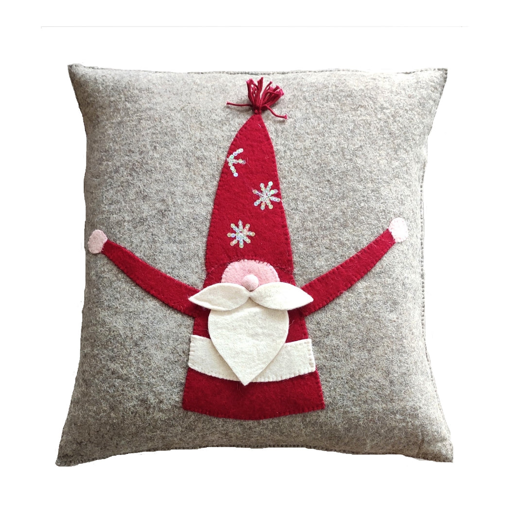 Hand Felted Wool Pillow  Cover - Gnome with Red Sequin Hat - 20
