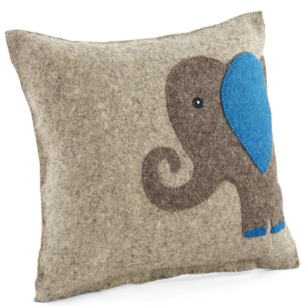 Handmade Cushion Cover in Hand Felted Wool - Blue Elephant on Gray - 18