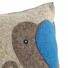 "Handmade Cushion Cover in Hand Felted Wool - Blue Elephant on Gray - 18"" - Arcadia Home"