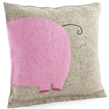Handmade Cushion Cover in Hand Felted Wool - Pink Elephant on Gray - 18""