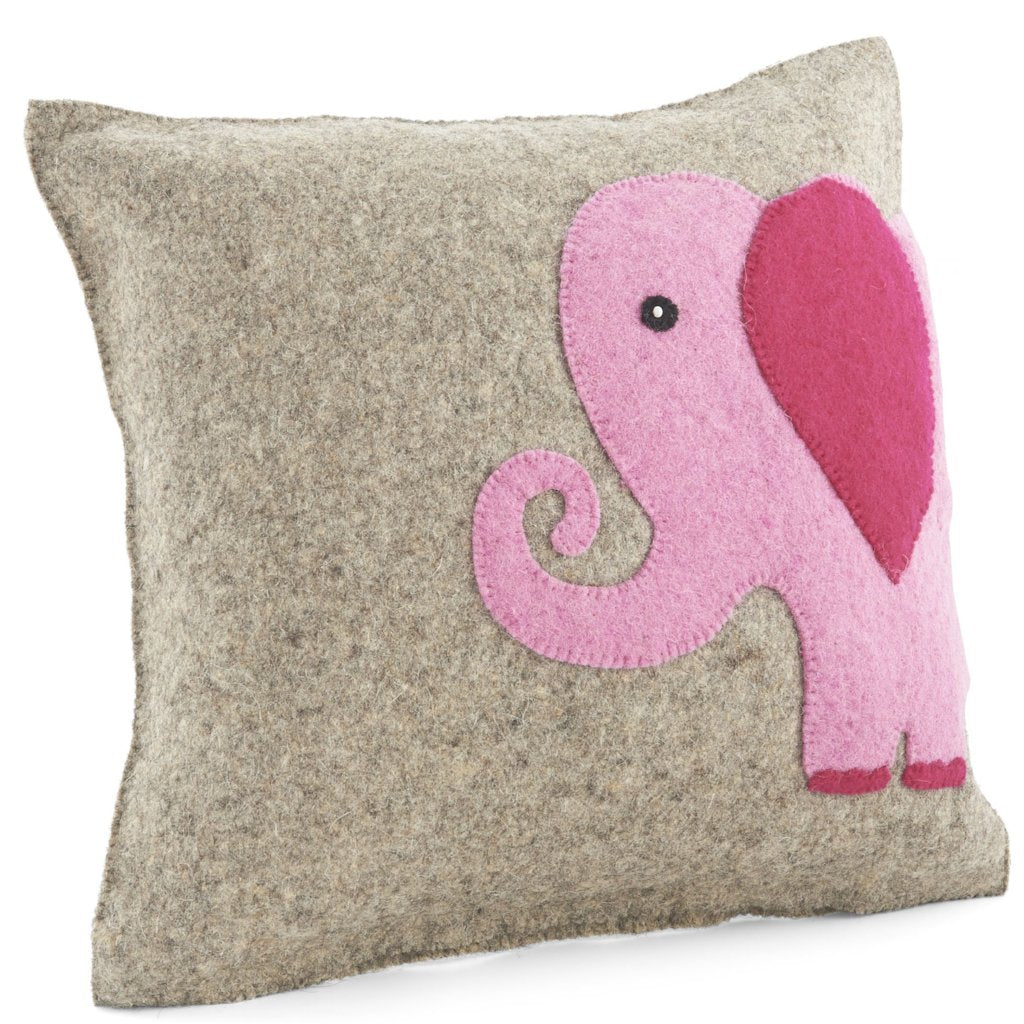 Handmade Cushion Cover in Hand Felted Wool - Pink Elephant on Gray - 18