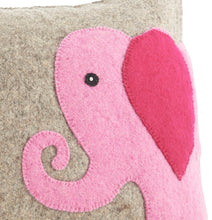 Pink Elephant Pillow Cover in Hand Felted Wool - Arcadia Home