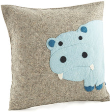 "Handmade Cushion Cover in Hand Felted Wool - Blue Hippo on Gray - 18"" - Arcadia Home"