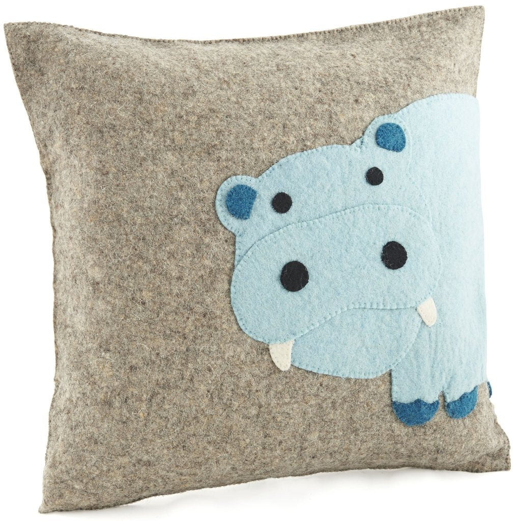 Handmade Cushion Cover in Hand Felted Wool - Blue Hippo on Gray - 18