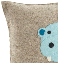 Blue Hippo Pillow Cover in Hand Felted Wool - Arcadia Home