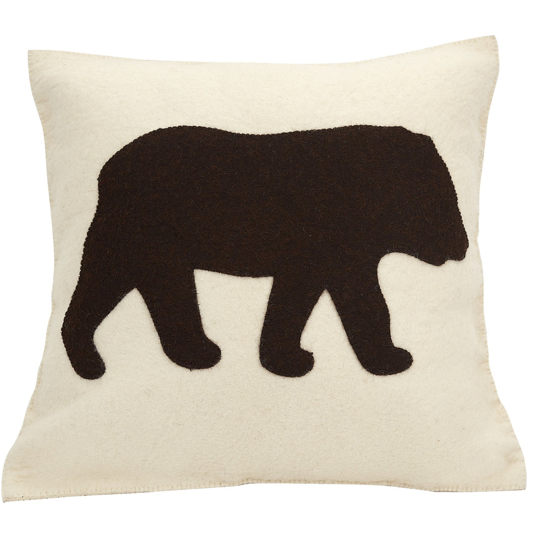 Hand Felted Wool Pillow  - Brown Bear Silhouette on Cream - 20