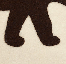 Hand Felted Wool Pillow  - Brown Bear Silhouette on Cream - 20""