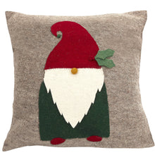 Hand Felted Wool Pillow - Gnome with Red Hat on Gray - 20""
