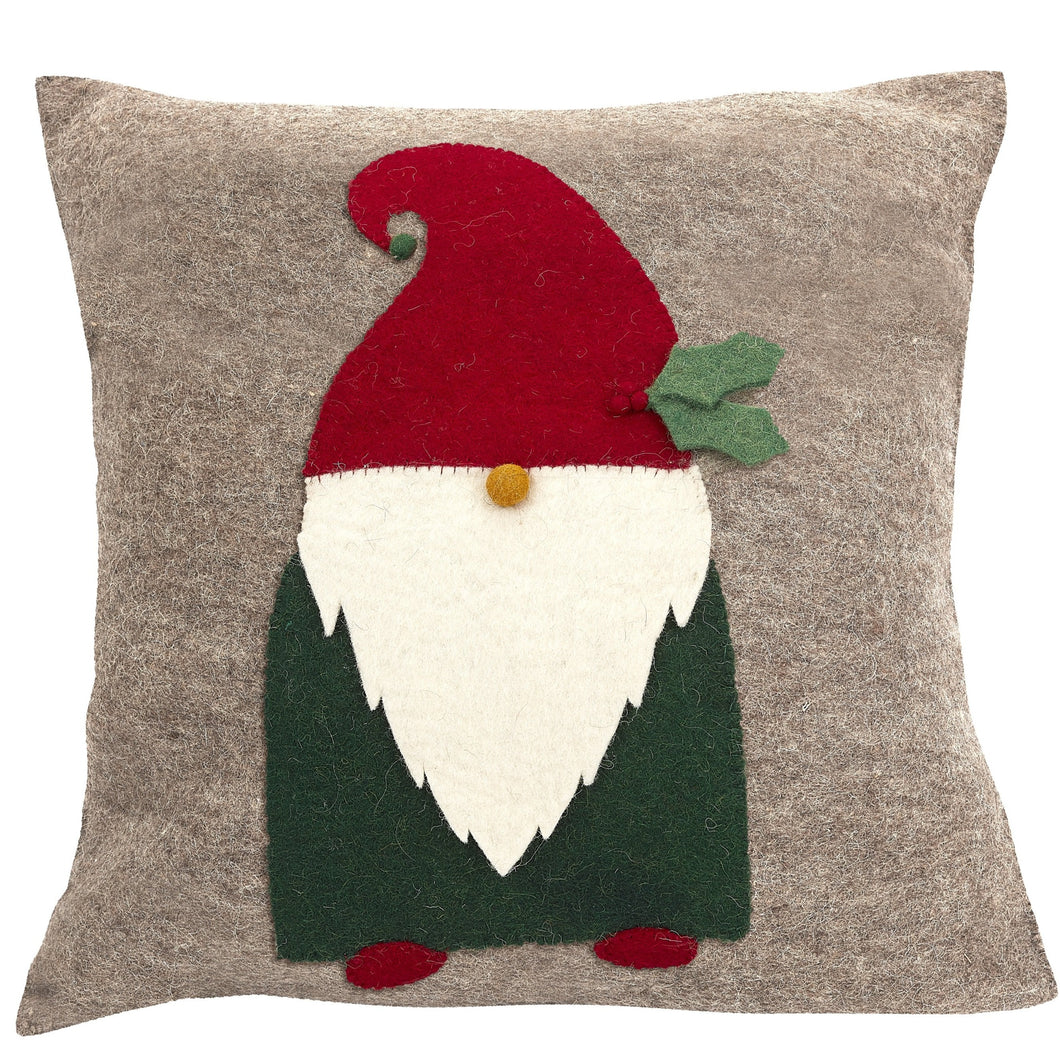 Hand Felted Wool Pillow - Gnome with Red Hat on Gray - 20