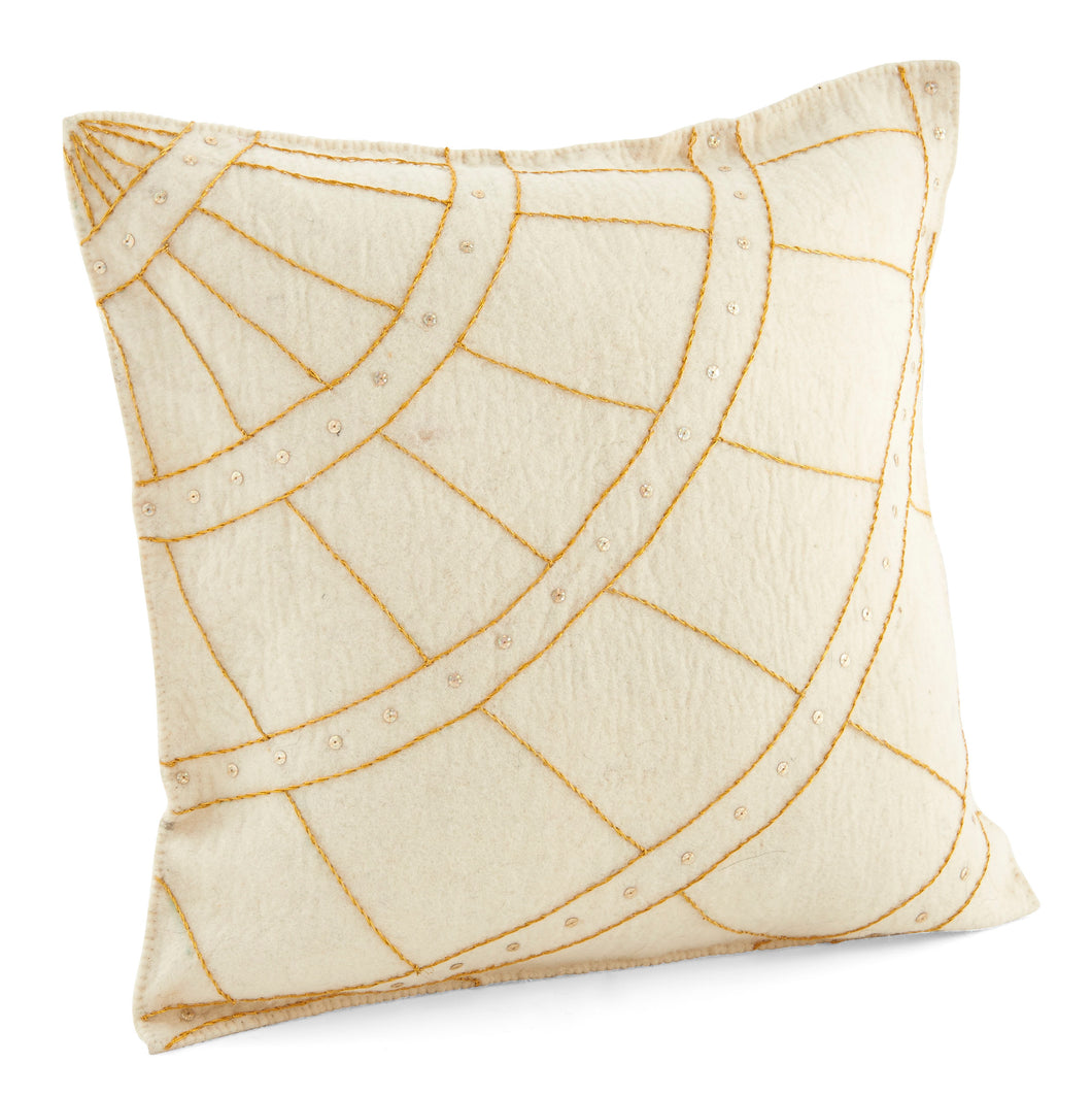 Gold Thread on Cream  - Hand Felted Wool Pillow - 20
