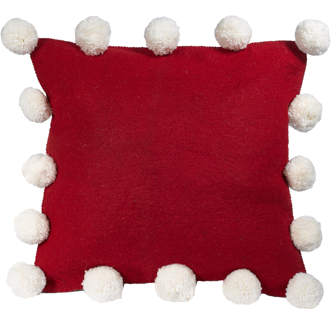 Cream Pom Poms on Red -Hand Felted Wool Pillow Cover - 20