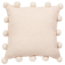 "Cream Pom Poms on Cream - Hand Felted Wool Pillow - 20"" - Arcadia Home"
