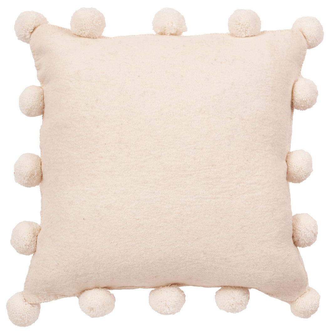 Cream Pom Poms on Cream - Hand Felted Wool Pillow - 20