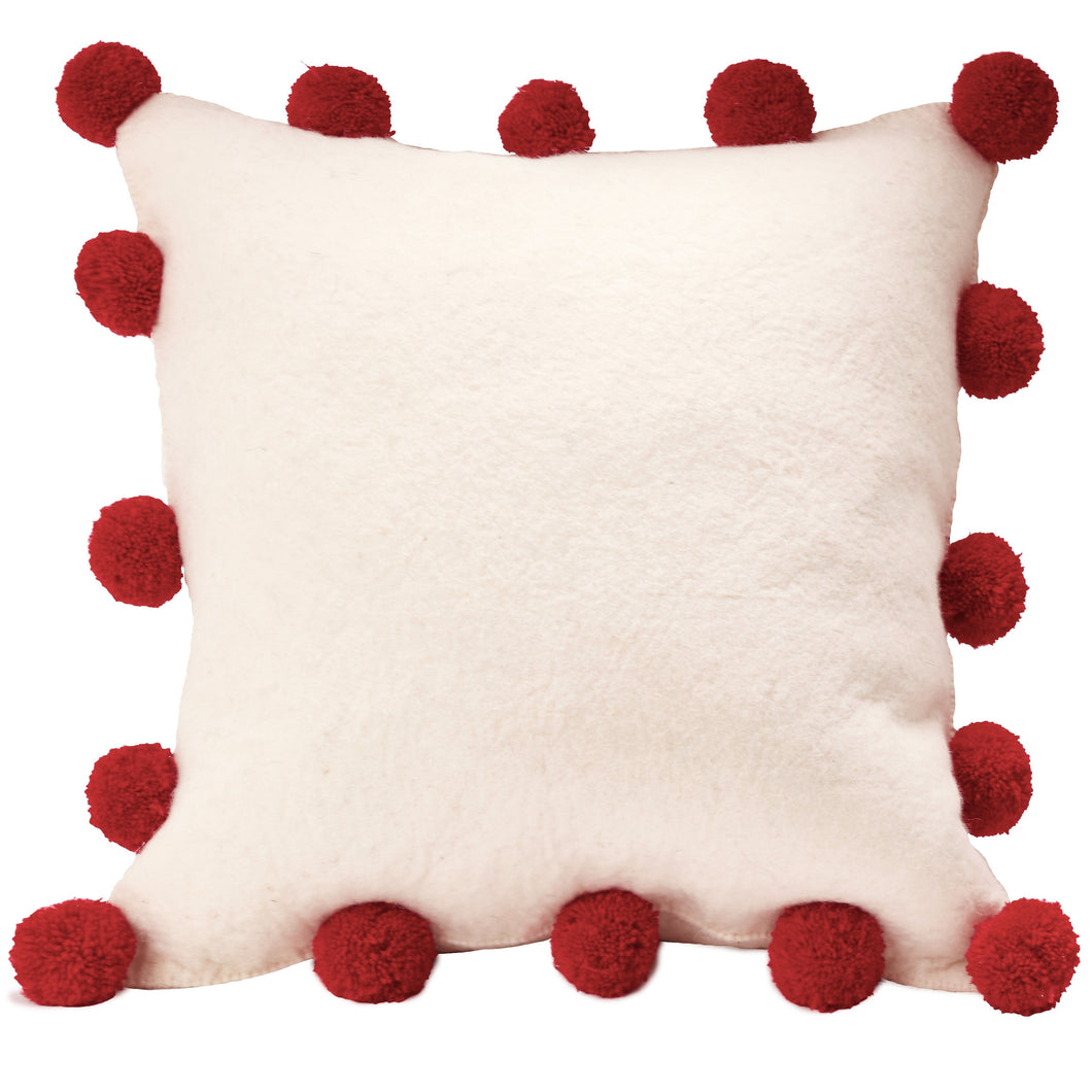 Red Pom Poms on Cream - Hand Felted Wool Pillow Cover - 20