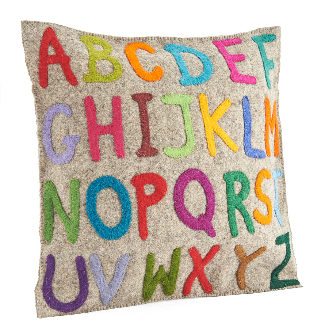 Handmade Pillow in Hand Felted Wool - Multicolor ABCs - 20