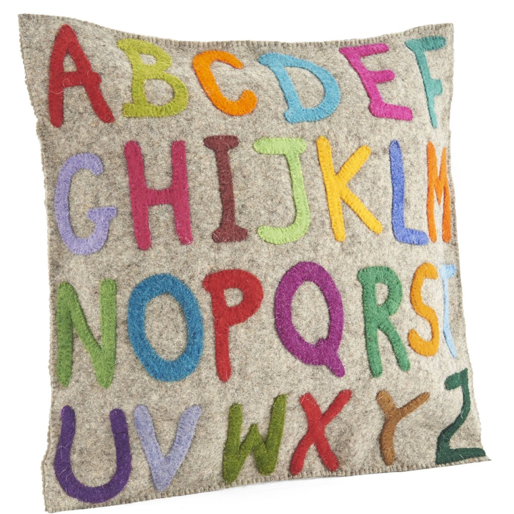 Handmade Cushion Cover in Hand Felted Wool - Multicolor ABCs - 20