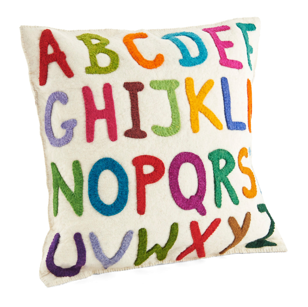 Handmade Pillow in Hand Felted Wool - Multicolor ABCs on Cream - 20