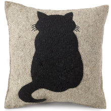 Handmade Cushion Cover in Hand Felted Wool - Cat on Gray - 20""