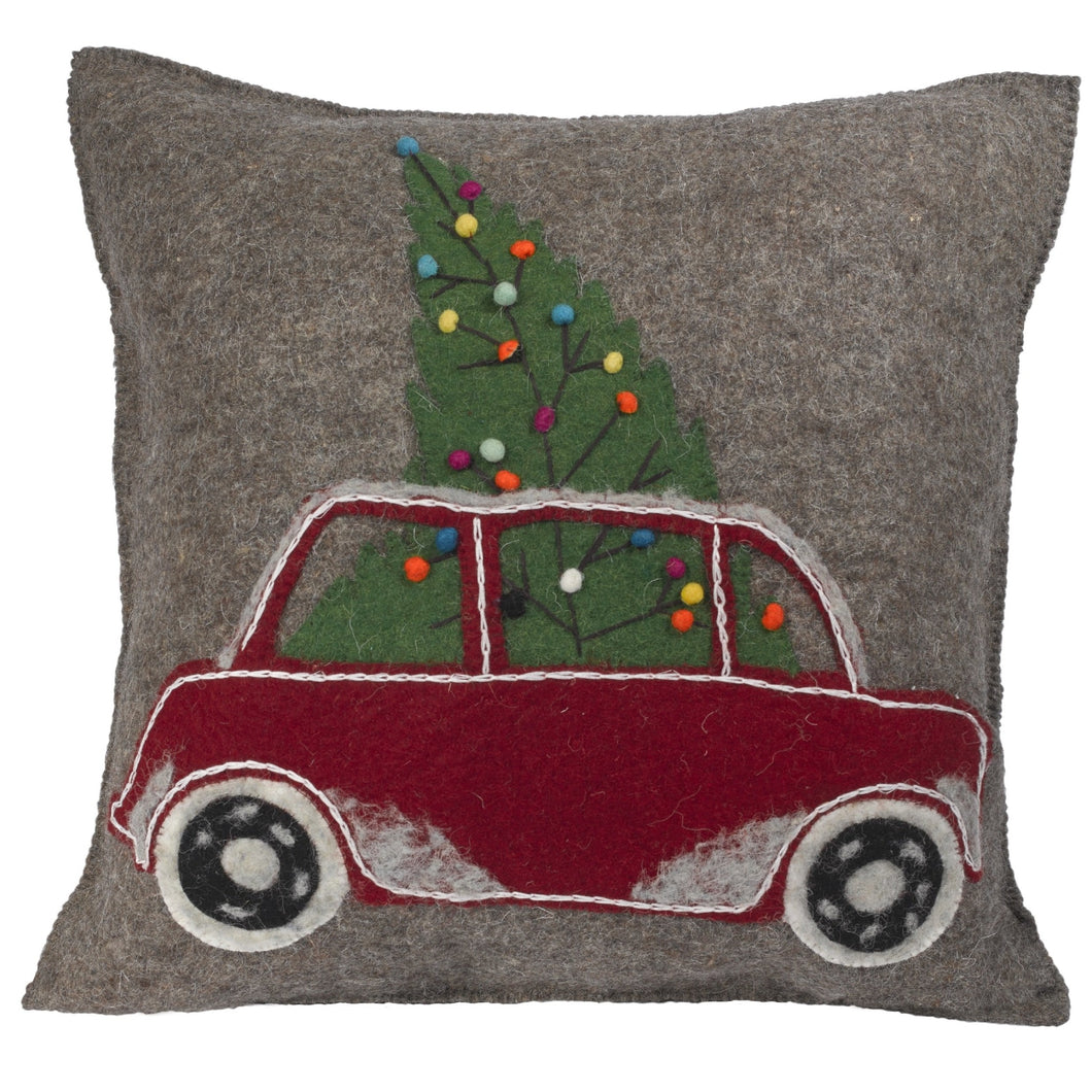 Hand Felted Wool Christmas Pillow - Car with Tree on Gray - 20