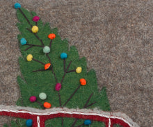 Hand Felted Wool Christmas Pillow - Car with Tree on Gray - 20""
