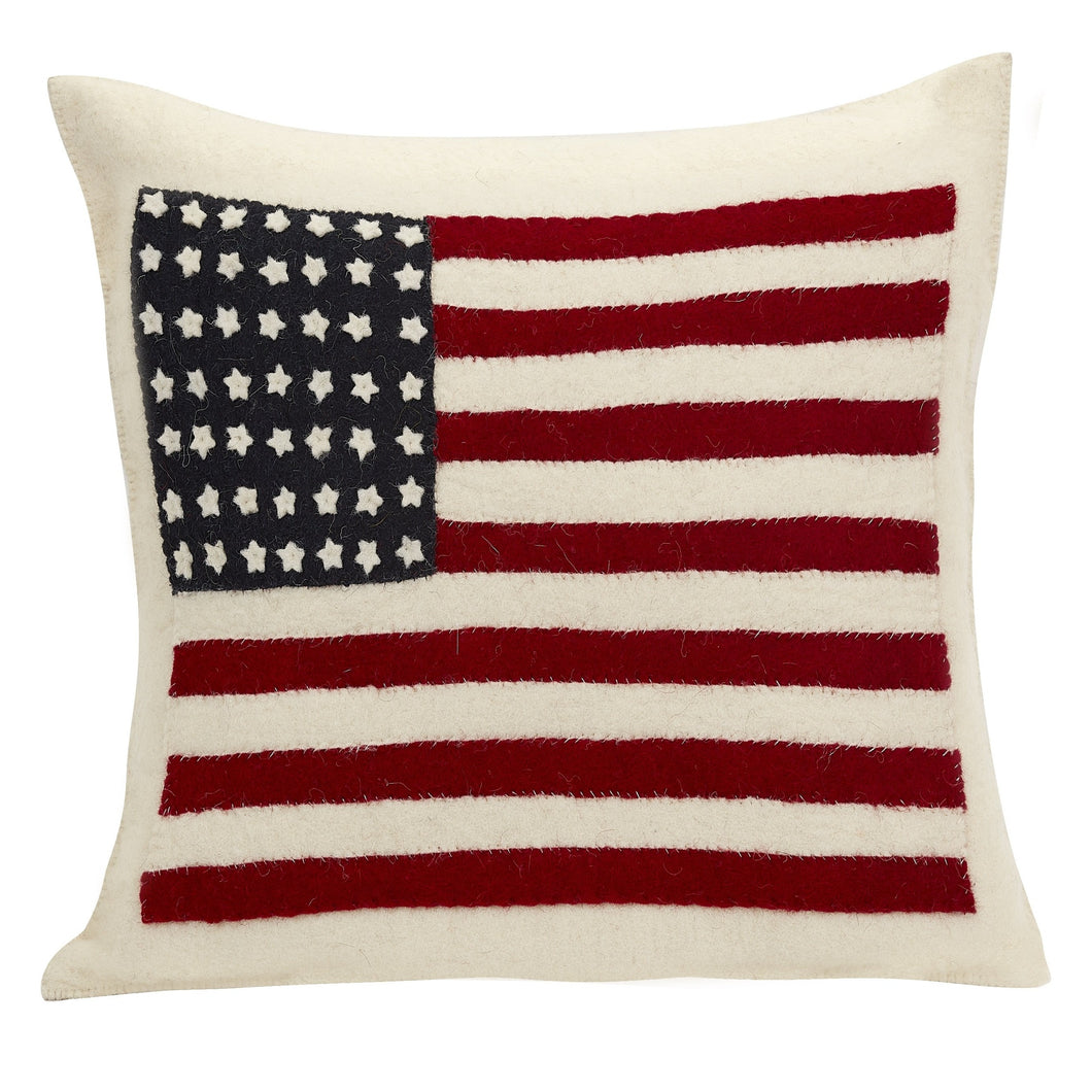 Hand Felted Wool Pillow Cover - American Flag - Cream -20
