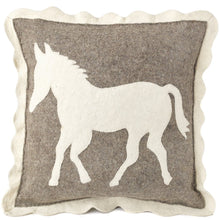 Handmade Cushion Cover in Hand Felted Wool - Horse on Gray - 20""