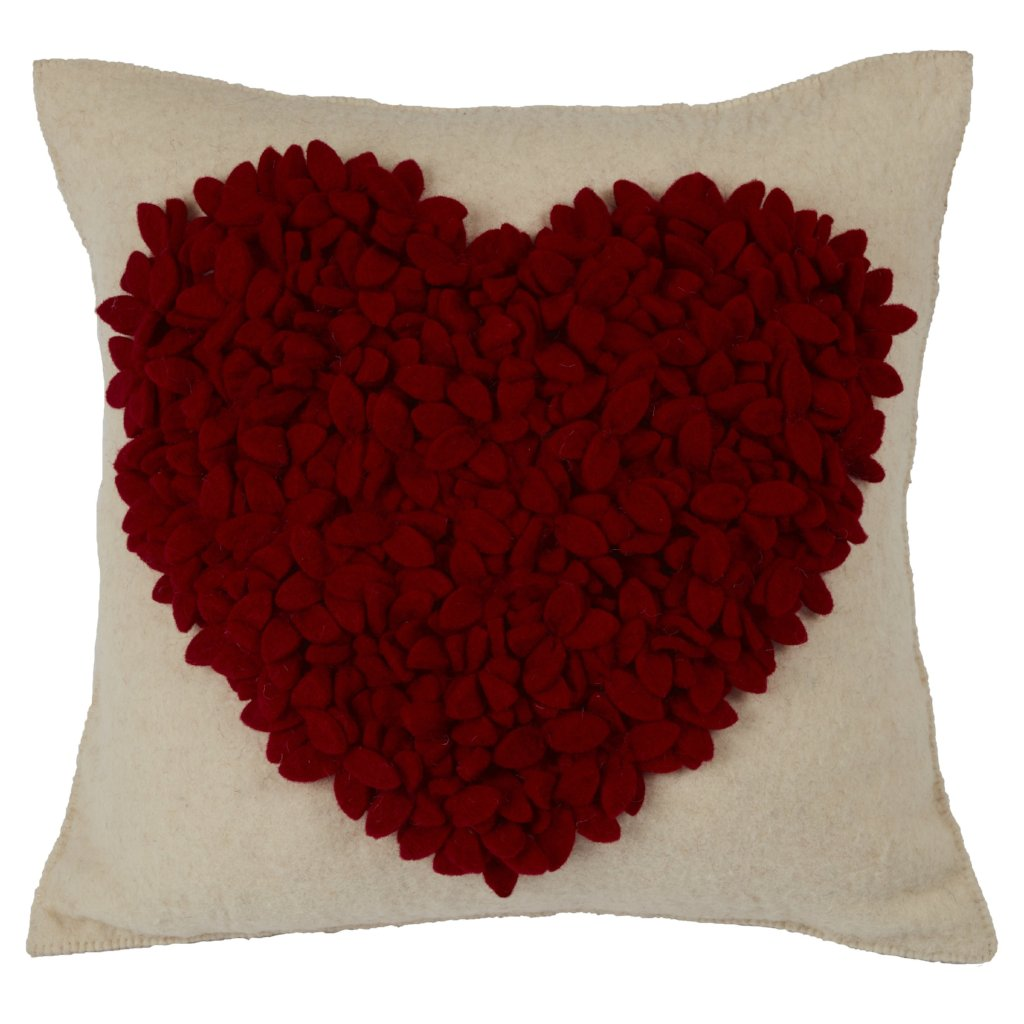 Hand Felted Wool Pillow Cover - Red Heart on Cream - 20