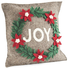 "Hand Felted Wool Christmas Pillow - JOY Wreath in Natural Gray - 20"" - Arcadia Home"