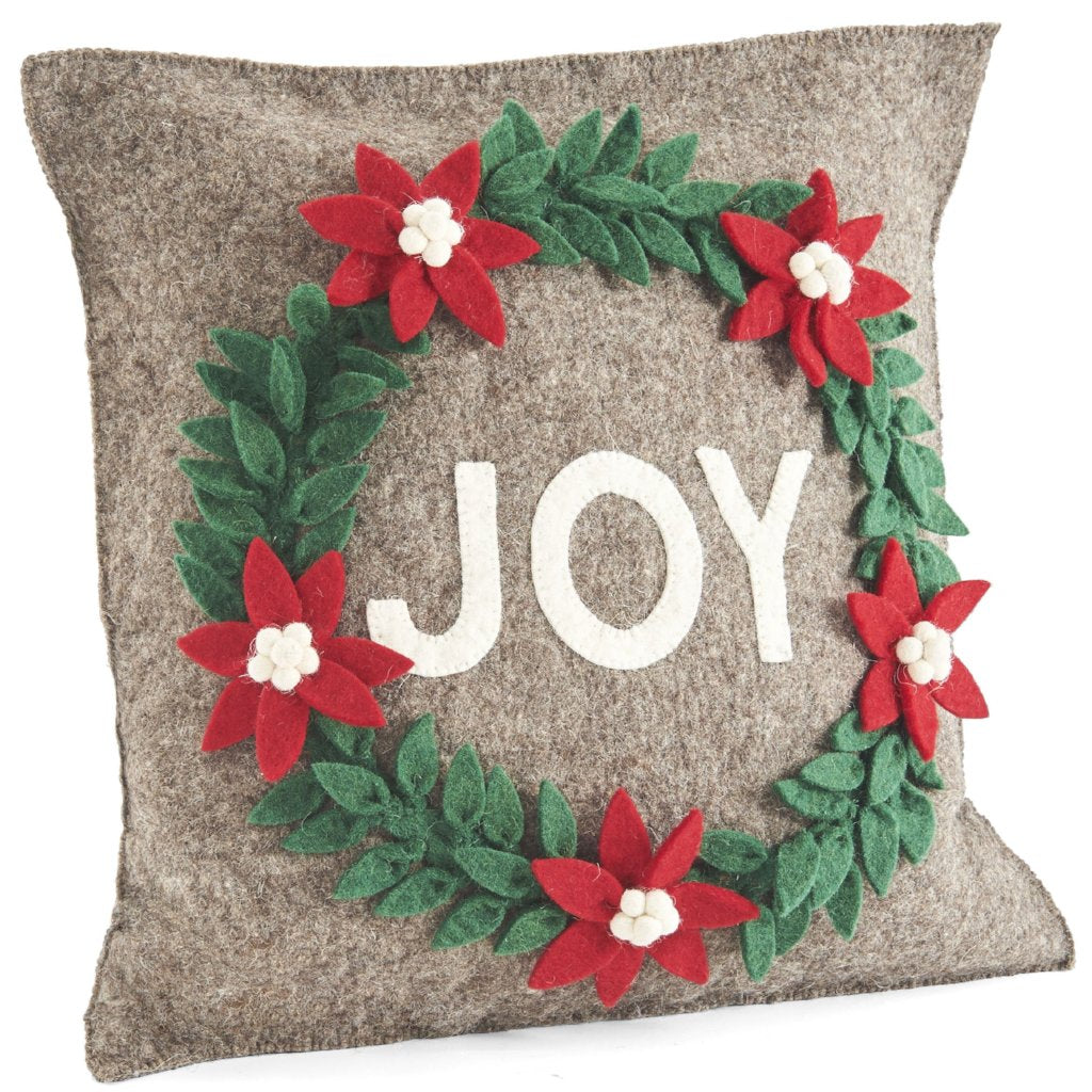 Hand Felted Wool Christmas Pillow - JOY Wreath in Natural Gray - 20