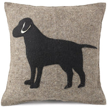 "Handmade Cushion Cover in Hand Felted Wool - Black Lab on Gray - 20"" - Arcadia Home"