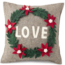 "Handmade Cushion Cover in Hand Felted Wool - LOVE Wreath on Gray - 20"" - Arcadia Home"