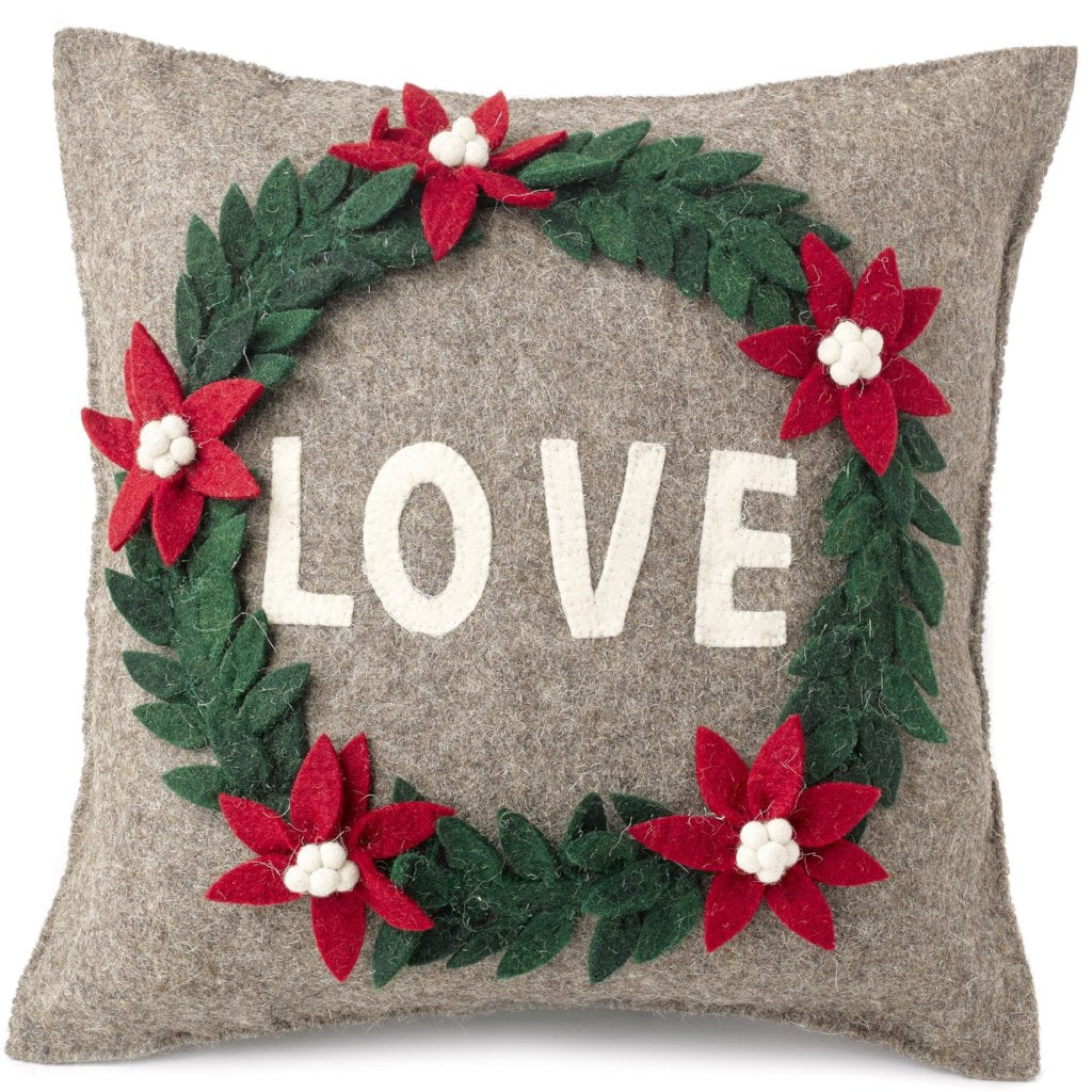 Handmade Cushion Cover in Hand Felted Wool - LOVE Wreath on Gray - 20