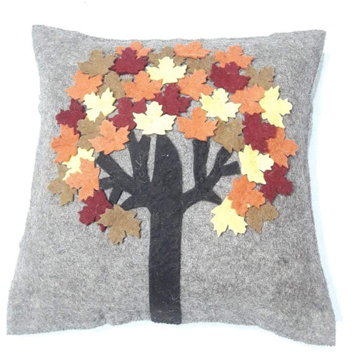 Hand Felted Wool Pillow - Maple Tree on Gray - 20