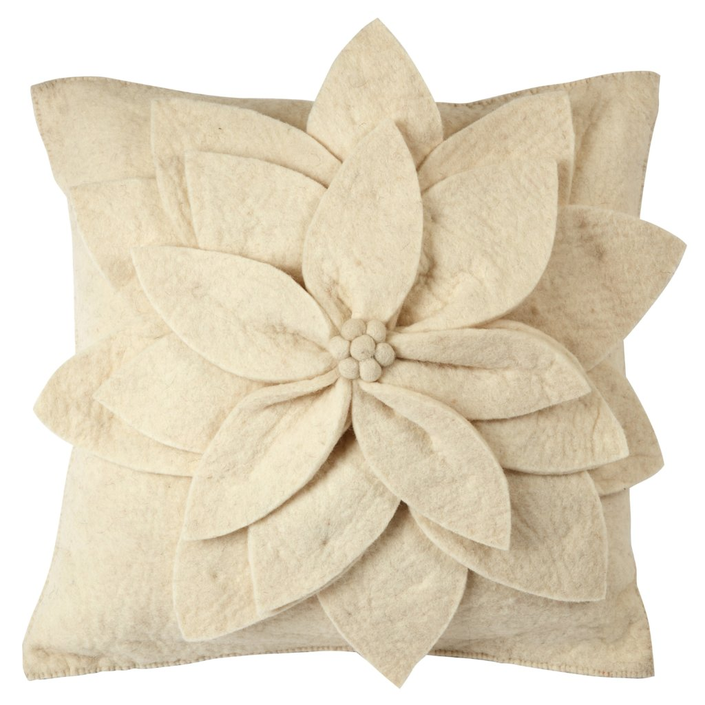 Hand Felted Wool  Pillow Cover - Cream 3D Flower on Cream – 20