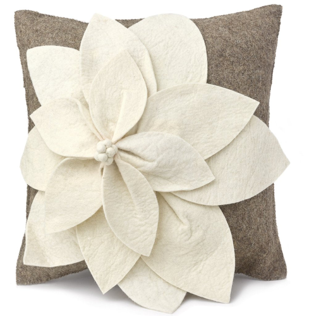 Hand Felted Wool Pillow Cover - 3D Flower in Cream on Gray - 20