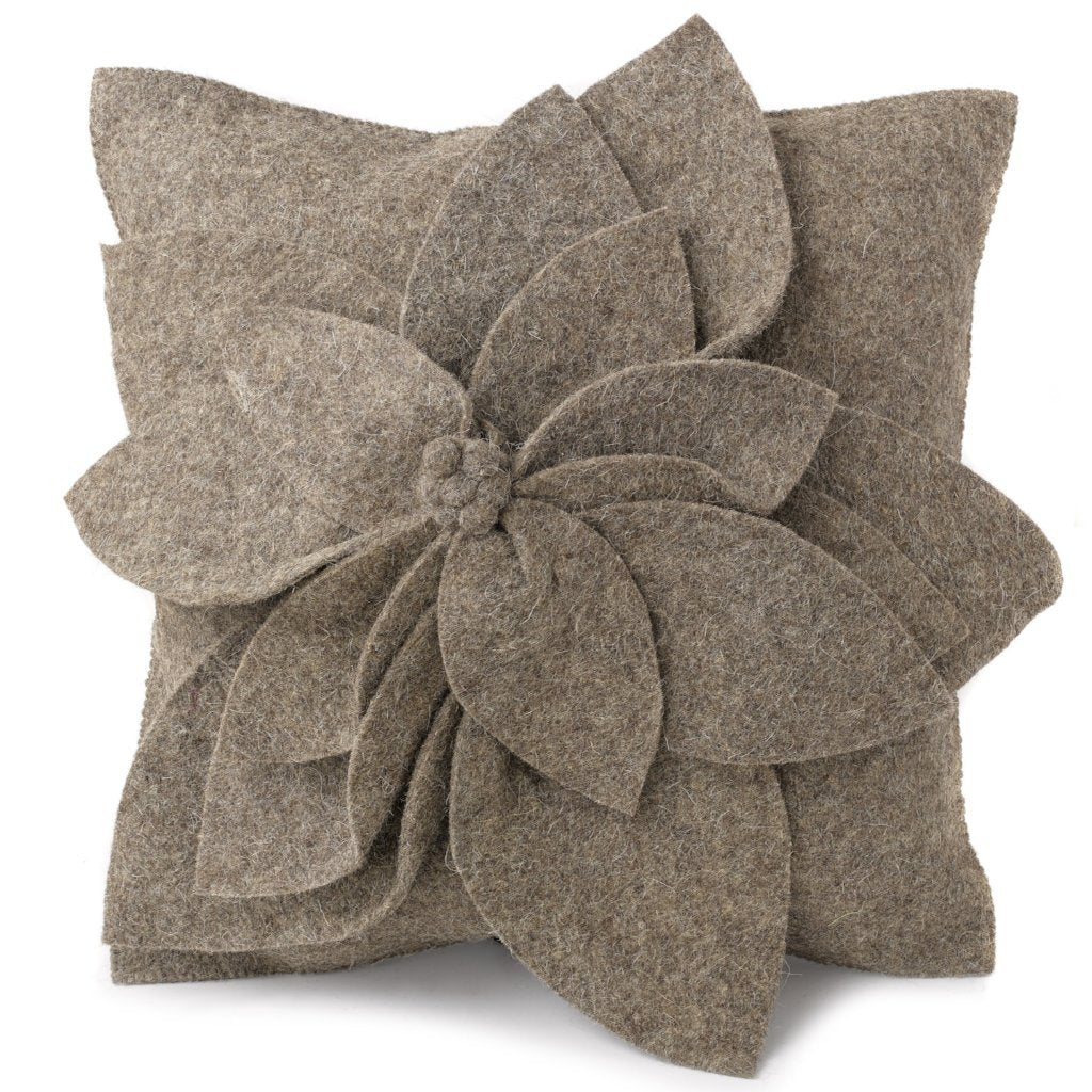Hand Felted Wool Pillow - 3D Flower in Gray on Gray – 20
