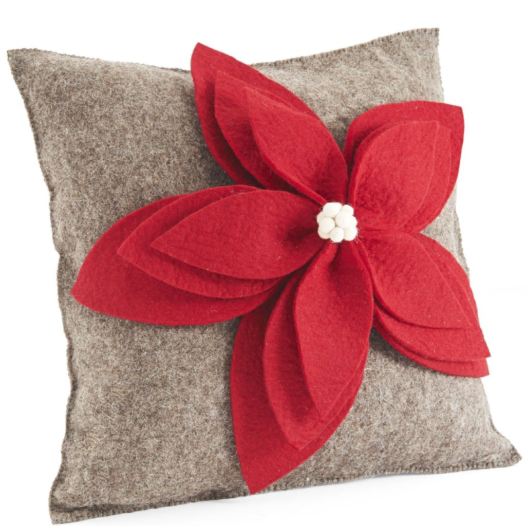 Handmade Cushion Cover in Hand Felted Wool - Red Poinsettia on Gray - 20