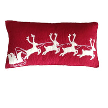 "Hand Felted Wool Christmas Pillow - Cream Sleigh and Reindeer on Red - 12""x24"""