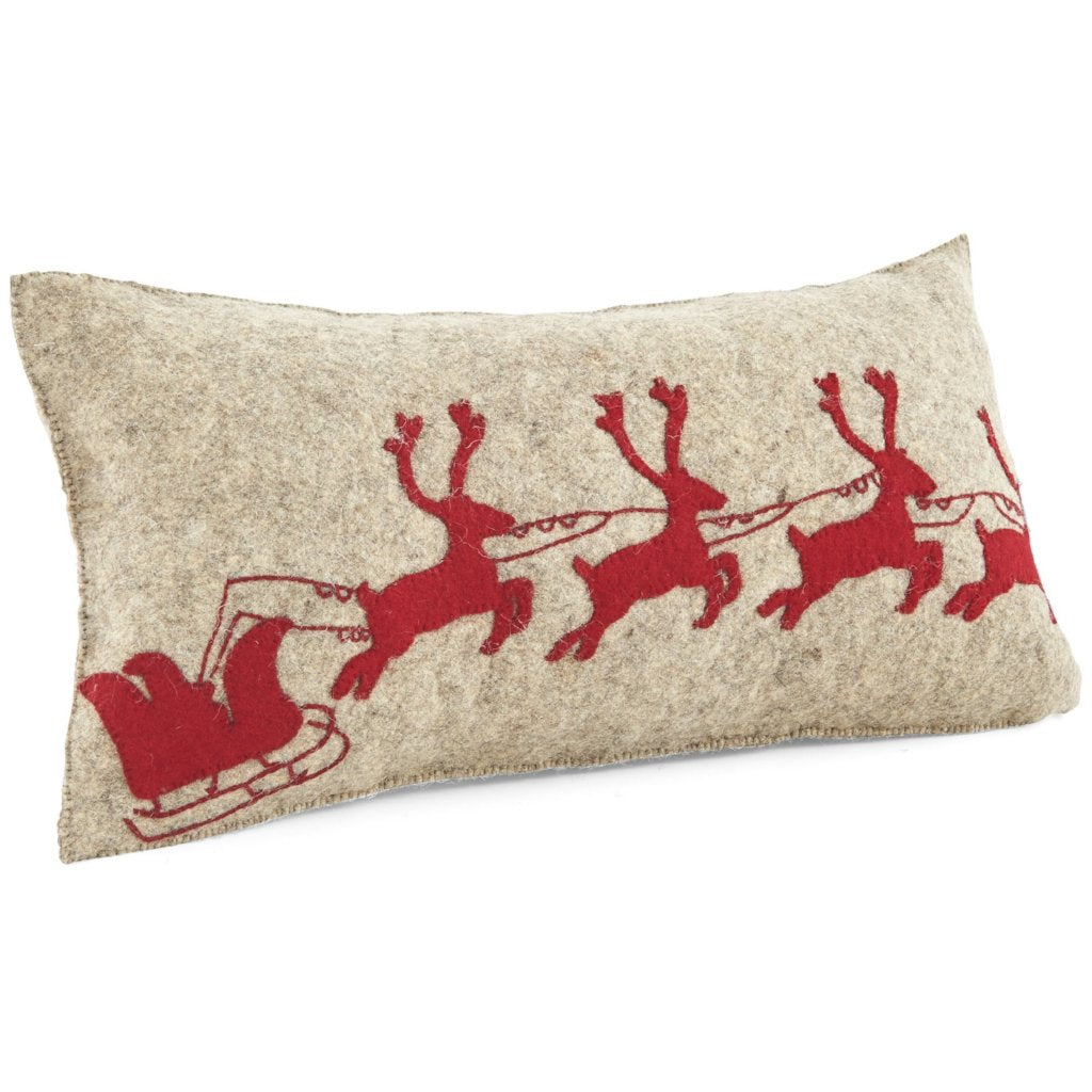 Handmade Christmas Cushion Cover in Hand Felted Wool - Red Reindeer on Gray - 12